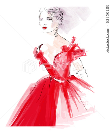Beautiful female model in red dress 63250189