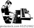 Musician Playing on the Keyboard Synthesizer 63252062