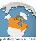 USA orange highlighted on Earth globe. 3D world map with grey political map of countries dropping shadows on blue seas and oceans. Vector illustration 63252348