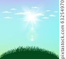 sunny sky sunlight and grass hill 63254970