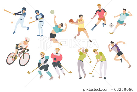 亚洲男子运动员向量插画 63259066