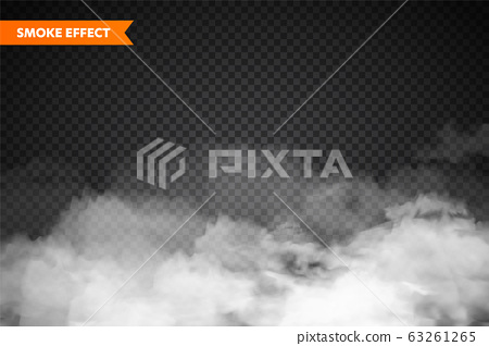 Realistic fog, mist effect. Smoke isolated on transparent background. Vector vapor in air, steam 63261265
