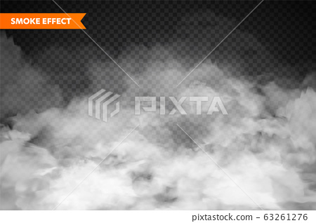 Realistic fog, mist effect. Smoke isolated on transparent background. Vector vapor in air, steam 63261276