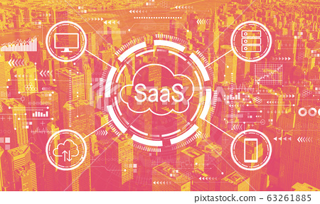 SaaS - software as a service concept with the New York City 63261885