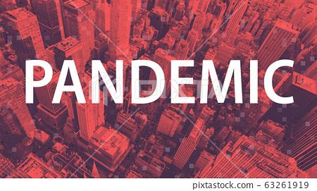 Coronavirus pandemic theme with aerial cityscape 63261919