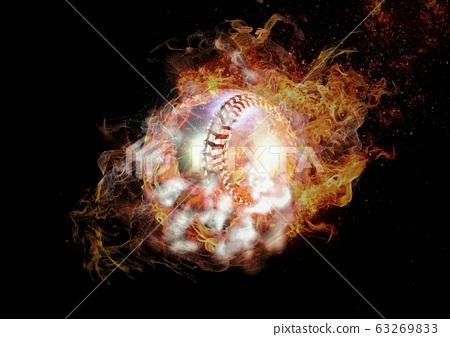 抽象棒球球包裹在火焰和煙霧 63269833