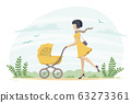 Young Woman With Stroller 63273361