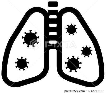 新的冠狀病毒(Covid-19)和肺炎矢量圖標 63274680