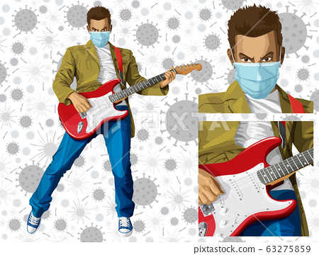Man with the guitar and mask on his face 63275859