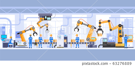 Industrial factory building inside vector illustrations 63276889