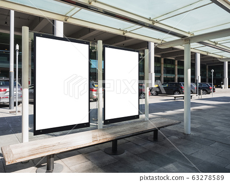 Mock up Posters Blank Banners frame template Bus stop Media Advertisement 63278589