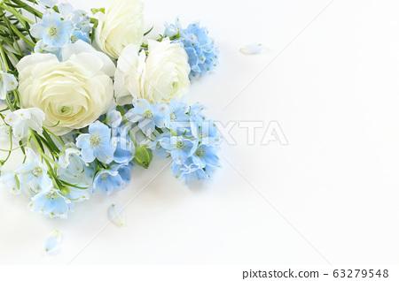 白色和藍色的花朵 63279548