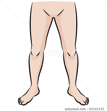 人体部位双腿彩色卡通插画素材 63282181