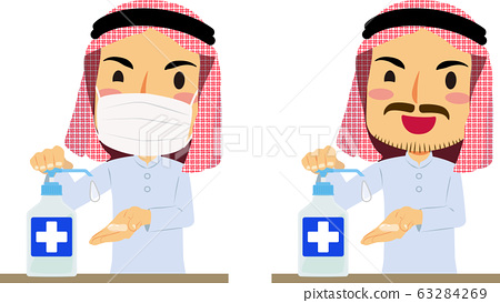 Arab men with or without hand sanitizing mask set 63284269