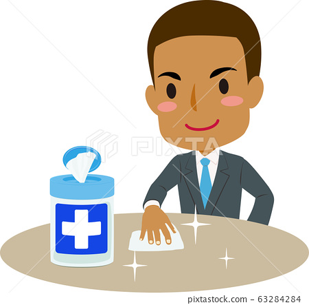 Illustration of an African Man Cleaning a Table with a Disinfecting Wipe 63284284