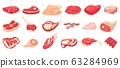 Cartoon raw meat. Bacon, steak and beef minced meat. Rack of ribs, chicken breast and pork loin vector set 63284969