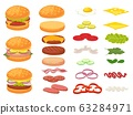 Cartoon burger ingredients. Hamburger, chop bun and tomato. Ham, fresh pickles and cheese slices. Fast food constructor vector illustration set 63284971