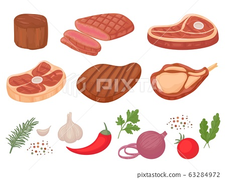 Cartoon beef steaks. Grilled steak, beef meats and filet mignon. Pepper and spices, garlic, onion and tomatoes vector illustration set 63284972
