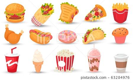 Cartoon fast food. Hamburger, tasty sandwich and hot dog. Soda drink, milkshake and coffee. Street food vector illustration set 63284976