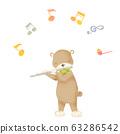 Animals playing music bear flute 63286542