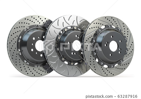 Different types of brake disks. Drilled and 63287916