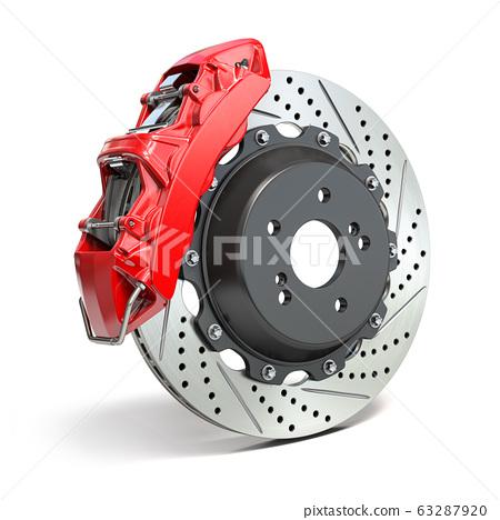 Braking system. Car brake disk with caliper 63287920