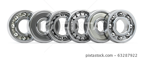 Bearings of different types in a row isolated on 63287922