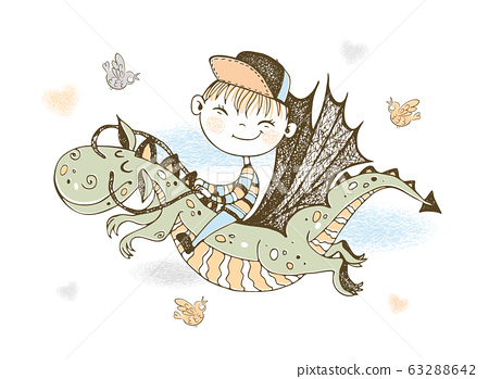 A little boy in a baseball cap is flying on a fairy-tale dragon. Vector 63288642