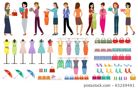 Set of women with purchases in a clothing and shoe 63289491