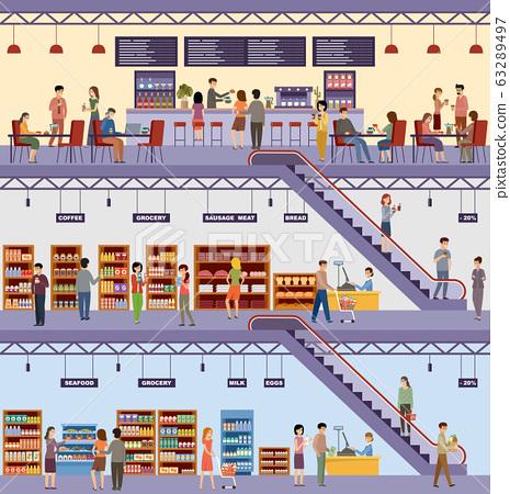 Shopping center. Supermarket. High-rise store. 63289497