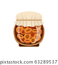 Bank of apricot jam on a white background 63289537