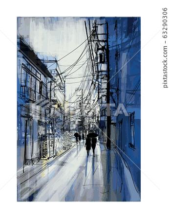 Pedestrians stroll down in a street of Tokyo 63290306
