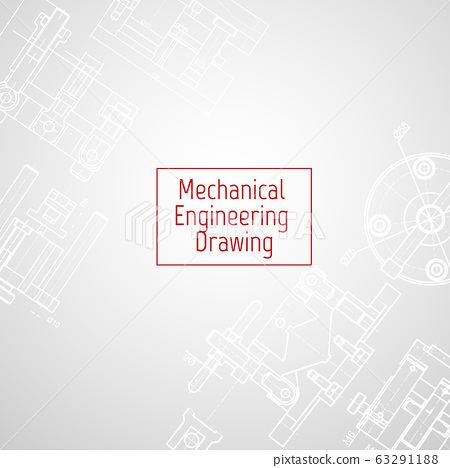 Technical drawing background . Mechanical Engineering drawing. Engine line drawing background 63291188