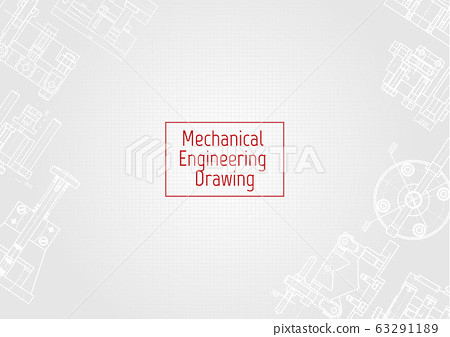 Technical drawing background . Mechanical Engineering drawing. Engine line drawing background 63291189