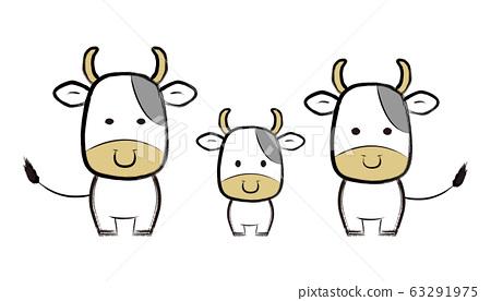 牛親子畫筆繪畫 63291975