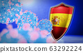 fight of the Spain with coronavirus - 3D render 63292224