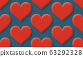 seamless heart shapes pattern 3d rendering illustration background 63292328