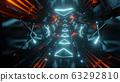 futuristic neon light tunnel 3d rendering illustration background 63292810