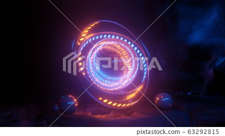 futuristic glass sphere in a cave 3d rendering illustration 63292815