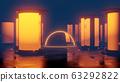futuristic sci fi columns and a glass dome 3d rendering illustration 63292822