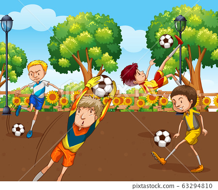 Scene with many children playing soccer in the 63294810