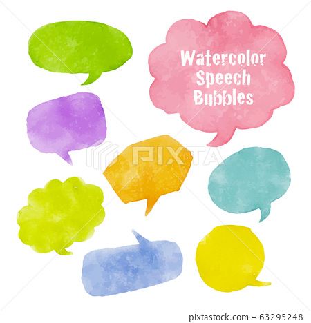 Watercolor balloons of various shapes-graphic material 63295248