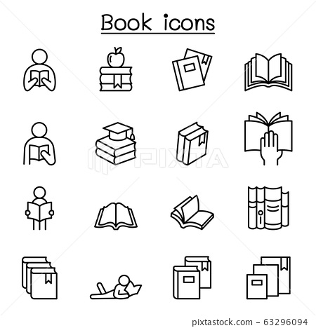 Book icon set in thin line style 63296094