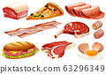 Set of different meat products on white background 63296349