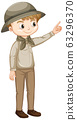 Cute boy in safari outfit on white background 63296370