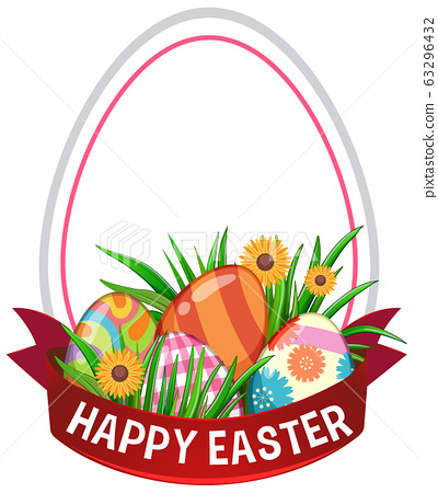 Poster design for easter with decorated eggs 63296432