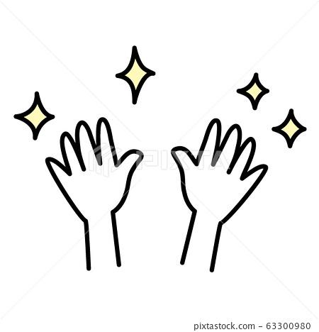 손 씻은 손 깨끗하게 깨끗한 손, 깨끗한 손, 반짝 손, 반짝, 화장실, 세척, 벡터, 63300980