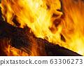 燃燒木材和火焰 63306273