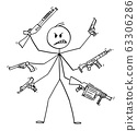 Vector Cartoon Illustration of Man with Six Arms Holding Weapons Like Pistol, Rifle, Grenade Launcher and Sub-machine gun . Concept of Violence. 63306286