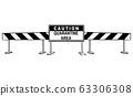 Vector Cartoon Illustration of Caution Quarantine Area Roadblock. Coronavirus Covid-19 Infection Concept 63306308